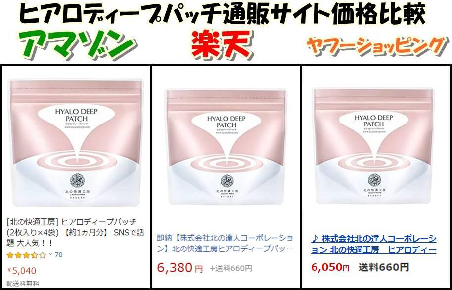 ヒアロディープパッチamazon・楽天・ヤフーショッピング価格比較