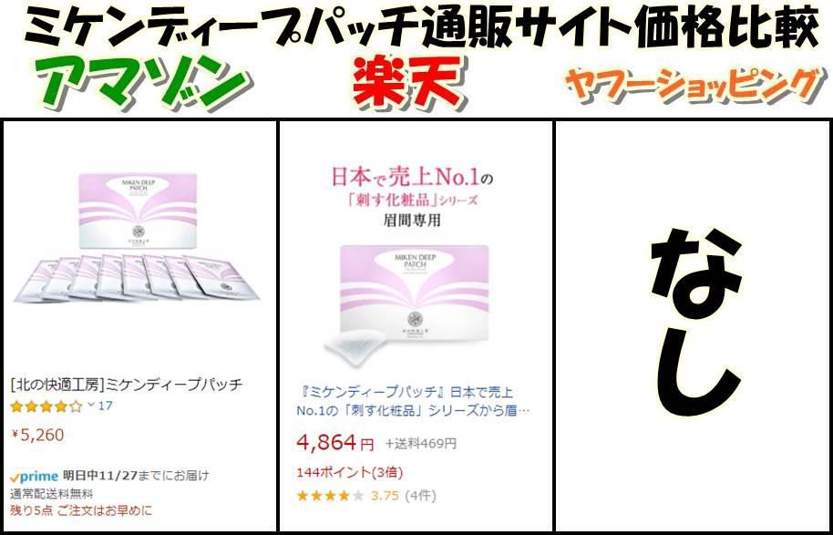 ミケンディープパッチamazon・楽天・ヤフーショッピング価格比較